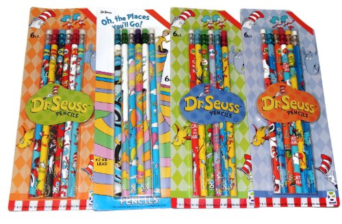 Dr. Suess #2 Lead Pencils Assorted 24 Pack All Different Styles with Erasers on Top