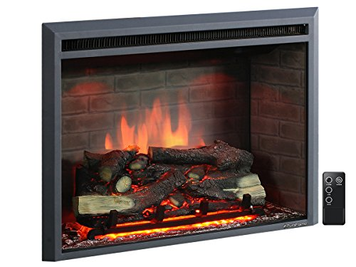 PuraFlame 33' Western Electric Fireplace Insert with Remote Control, 750/1500W, Black