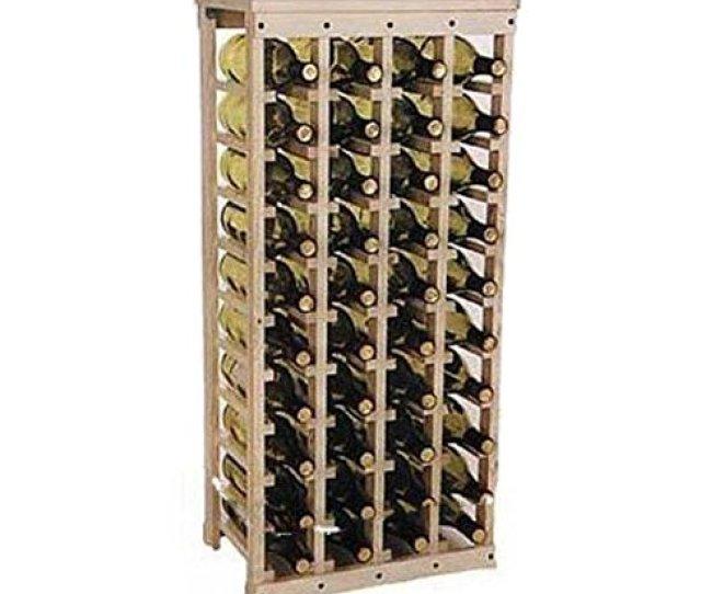 Amazon Com 40 Bottle Wooden Wine Rack Unfinished Pine38h X 17w X 10 5d Wood Wine Rack