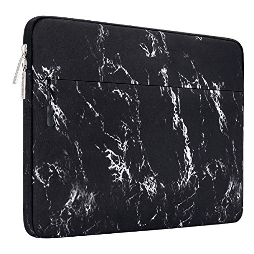 MOSISO Laptop Sleeve Bag Compatible with 13-13.3 inch MacBook Pro, MacBook Air, Notebook Computer with Accessory Pocket, Ultraportable Protective Canvas Marble Pattern Carrying Case Cover, Black