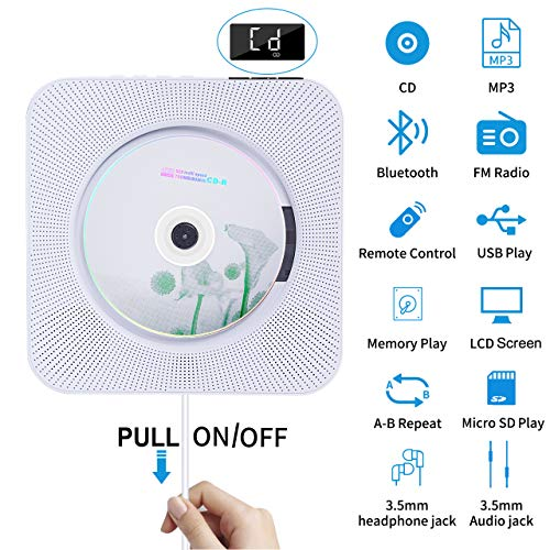 Portable CD Player with Bluetooth, Wall Mounted CD Player with Remote Control Built-in HiFi Speakers FM Radio, Music CD Player Support SD Card USB Playing 3.5mm Headphones AUX in/Out