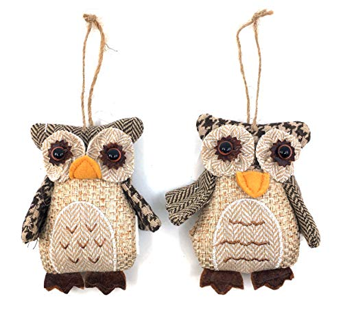 Burlap Owl Christmas Tree Ornaments - Set of 2