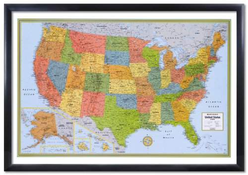 32x50 rand mcnally united states usa wall map framed edition ledina