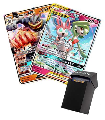 2 Pokemon GX Cards 200 HP+ Plus Poshinzo Card Box
