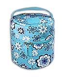 Essentielle Life - Essential Oil Diffuser Case, Essential Oil Diffuser Bag, Spacious Interior Padded Blue aqua Velvets Hold up to 12 Essential Oils ( Blue Flower Blossom)