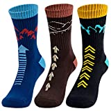 Time May Tell Mens Hiking Socks Moisture Wicking Cushion Crew Socks for Terkking,Outdoor Sports,Performance 3 pack (Black,Brown 6'-9')