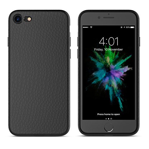 iPhone 8 Case, iPhone 7 Case Flexible TPU Silicone Hybrid Slim Case Slim & Leather Back