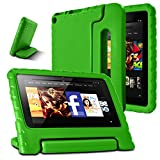 AFUNTA Fire 7 2015 Case,Light Weight Shock Proof Convertible Handle Stand EVA Protective Kids Case Compatible Amazon Fire 7 inch Display Tablet (5th Generation - 2015 Release Only)-Green