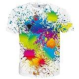 Hgvoetty Unisex Rainbow Printed Short Sleeve Colorful Tees X-Large