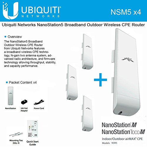 Ubiquiti-NSM5-Bundle-of-4-NanoStation-M5-5GHz-Outdoor-airMAX-CPE-150Mbps-15km