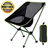 Folding Portable Camping Chair, Sports Outdoor Chair Ultralight Backpacking Chair Compact &Heavy Duty 300lb Capacity for Hiking Fishing Festival BBQ Picnic Beach Camp with TerraGrip Feet (Green)