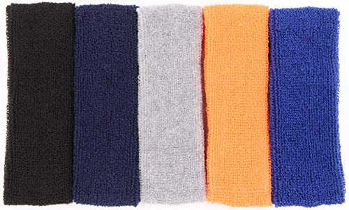 Sweat Headbands For Men - 5PK Sweatbands Cotton Headwrap For Basketball Running Sports Workout Exercise, Mens Sweatband Stretchy Terry Cloth Athletic Sweat Headband Headwear (Mixed, 5PCS)