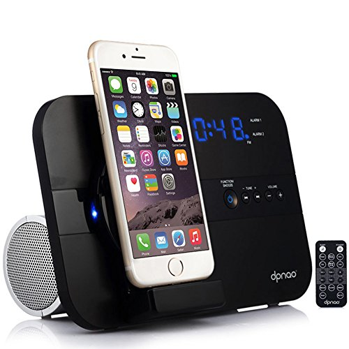 dpnao iPhone Alarm Clock Charging Speaker Wireless System with USB Charge Port Remote Apple MFi Certified (Black)