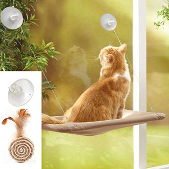 ZALALOVA-Cat-Window-Perch-Cat-Window-Seat-Bed-Hammock-Space-Saving-Design-with-1Pc-Cat-Toys-1Pc-Extra-Suction-Cup-Cat-Shelve-All-Around-360-Sunbath-Holds-Up-to-50lbs-for-Any-Cat-Size