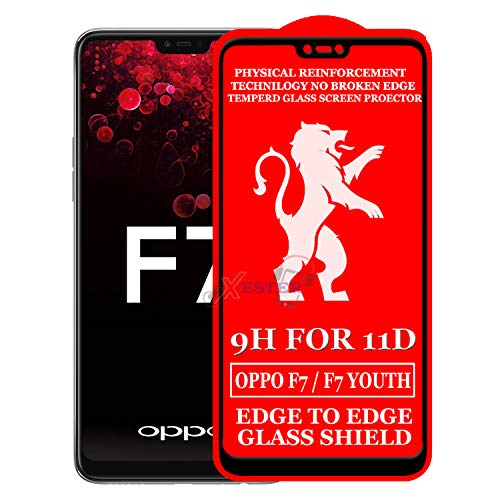 XESTER® 11D Glass Screen Protector Compatible with Oppo F7(Pack of 1) [ Edge to Edge Tempered Glass with Touch Accurate, Impact Absorb, Full Adhesive Glass ]