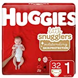 Huggies Little Snugglers Baby Diapers, Size 1 (up to 14 lb.), 32 Ct, Jumbo Pack (Packaging May Vary)