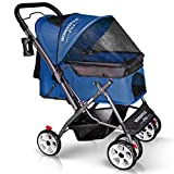 WonderFold Pet 4 Wheels Folding Pet Stroller for Dogs/Cats with Reversible Handle Bar, Zipperless Entry, Easy One-Hand Fold with Removable Liner, Storage Basket, Cup Holder (Midnight Blue)