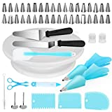 Kootek Cake Decorating Supplies 52-in-1 Baking Accessories Turntable Stands Cake Tips, Icing Smoother Spatula, Piping Pastry Bags and Decorating Pen Frosting Tools Set Kitchen Utensils