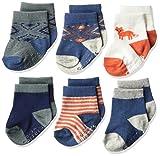 Carter's Baby Boys' 6 Pack Computer Socks (6 Pack),  Fox- Blue, Orange, White, 3-12 Months