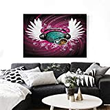 Popstar Party The Picture for Home Decoration Disco Ball with Headphones and Angel Wings Vibrant Swirl with Circles Customizable Wall Stickers 24'x20' Magenta Black Teal