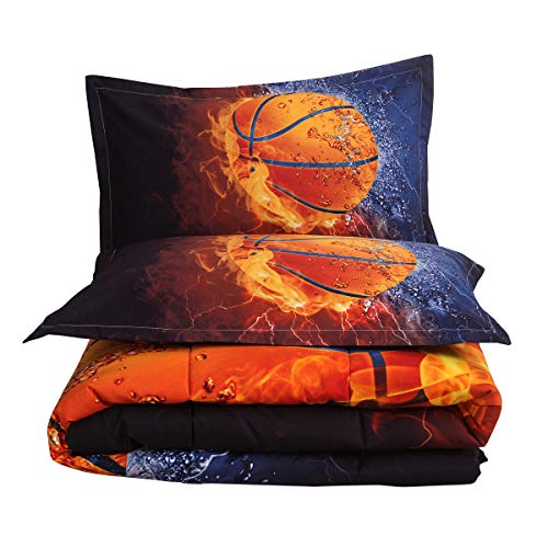 NTBED Basketball Comforter Set Full Boys Teens Sports Bedding Reversible Printed Quilt Sets