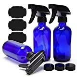 Blue Glass Spray Bottles 8oz ULG Empty 3 Piece Boston Round Cobalt Blue Bottles Heavy Duty Black Trigger Sprayer Mist and Stream Settings for Essential Oils or Cleaning Products