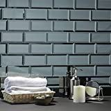 "Abolos Reflections Subway Graphite Blue Gray 3"" x 6"" Beveled Glossy Smooth Glass Reflective Mirror Decorative Bathroom Back-Splash Wall Tile (112 Tiles (Case), Graphite/Blue Gray)"