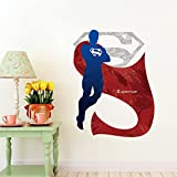Fange DIY Removable Superman 3D Art Mural Vinyl Waterproof Wall Stickers Living Room Decor Bedroom Decal Sticker 19.6''x15.7''