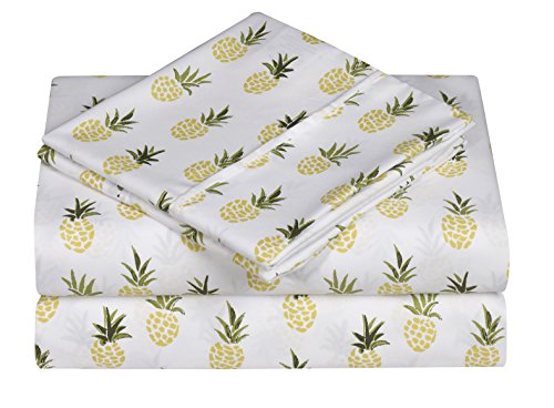 Caribbean Joe Ultra-Soft Double Brushed 4-Piece Microfiber Sheet Set. Beautiful Tropical Patterns, and Vibrant Solid Colors, Luxury, All-Season Bed Sheet Set - Pineapple, King