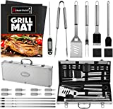ROMANTICIST 23pc Must-Have BBQ Grill Accessories Set with Thermometer in Case - Stainless Steel Barbecue Tool Set with 2 Grill Mats for Backyard Outdoor Camping - Best Grill Gift for on Christmas
