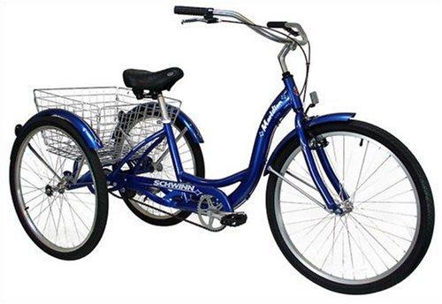 Schwinn Meridian Full Size Adult Tricycle 26 wheel size Bike Trike, blue