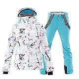 Women's Ski Jackets and Pants Set Windproof Waterproof Snowsuit Blue L