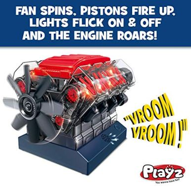 Playz-V8-Combustion-Engine-Model-Building-Kit-STEM-Hobby-Toy-for-Kids-Adults-with-DIY-Guide-Realistic-Parts-Including-Timing-Belt-Cylinder-Heads-Spark-Plugs-Pistons-Ignition-Wires-and-More