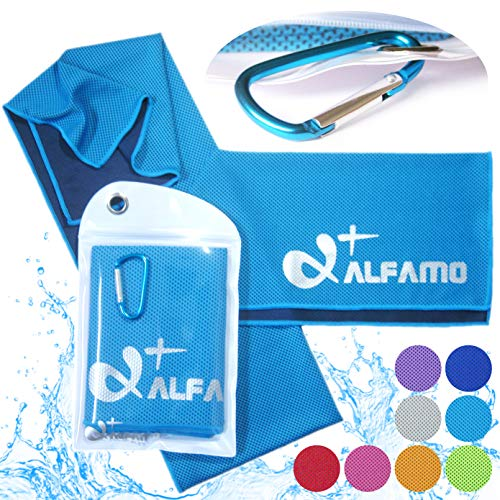 Cooling Towel for Instant Relief, 40' Long As Scarf - XL Ultra Soft Breathable Mesh Yoga Towel - Keep Cool for Running Biking Hiking Golf & All Other Sports, Waterproof Bag Packaging with Carabiner