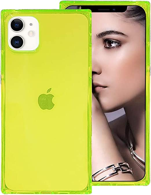 Amazon Com Omorro For Iphone 12 Mini Clear With Design Case Cute Candy Colors Square Transparent Design Shell Flexible Slim Soft Tpu Bumper Shockproof Anti Fall Reinforced Corners Protective Case Green