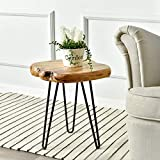 WELLAND Live Edge Side Table with Hairpin Legs, Natural Edge Side Table, Small Nightstand Wood, 15.5