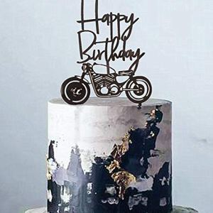 Set of 2 JeVenis Acrylic Black Motorcycle Cake Topper Scooter Happy Birthday Cake Topper for Man's Birthday Party or Boy's Birthday 51KhqCxACiL