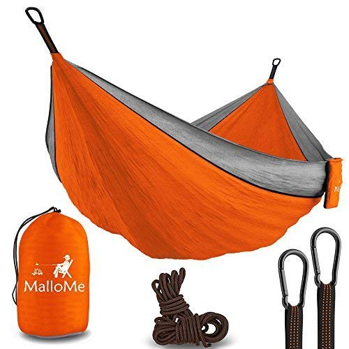 Double & Single Portable Camping Hammock - Parachute Lightweight Nylon with Hammok Tree Ropes Set- 2 Person Equipment Kids Accessories Max 1000 lbs Breaking Capacity - Free 2 Carabiners