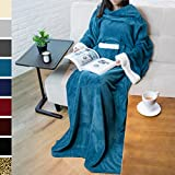 PAVILIA Deluxe Fleece Blanket with Sleeves for Adult, Men, and Women| Elegant, Cozy, Warm, Extra Soft, Plush, Functional, Lightweight Wearable Throw (Sea Blue)