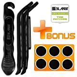 BLANST Best Bicycle Tire Levers - 3 Pcs of Extra Strong and Durable Bike Tire Pry Rods with 6 Pre-Glued Patches - Must Have Cycling Repair Accessories Tools kit