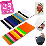 Heat Transfer Vinyl HTV Bundle Variety Pack Assortment for T Shirts Fabric 12x10' 23 Sheets Iron On Vinyl Colored Starter Kit for Silhouette Cameo and Cricut Bonus 1 Weeding Tweezers