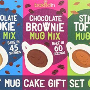 Bakedin Mug Cake Gift Set, 505g – 9 Mug Cake mixes (3 Mug Brownie mixes, 3 Mug Cookie mixes, 3 Sticky Toffee Mug Pudding mixes) – top Quality Ingredients – Belgian Chocolate, Award Winning Flour, 51KlRJr3EsL