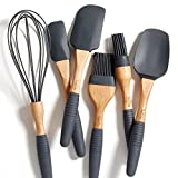 """PortoFino 6 Pc. Baking Utensil Set – Beech Wood & Silicone – Cooking / Pastry Tools – 9"""" Large Spatula, Small Spatula, Spoon Spatula, Flat Pastry Brush, Round Pastry Brush, 12"""" Balloon Whisk, Grey"""