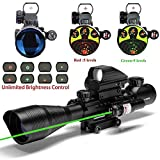 THEA C4-12X50 Scope Dual Illuminated Reticle W/Green Laser Sight and 4 Tactical Holographic Dot Reflex Sight (12 Month Warranty)