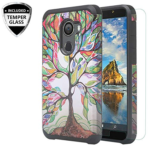 Jitterbug Smart 2 5.5inch (2018) Case, w/Temper Glass Screen Protector Shock Proof Silicone Hybrid Dual Layer Defender Protective Case Cover for Jitterbug Smart 2 Easy-to-Use 5.5 - (Colorful Tree)