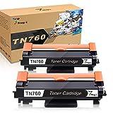 7Magic Compatible Toner Cartridge Replacement TN730 TN-760 for Brother DCP-L2550DW, HL-L2350DW, HL-L2370DW, HL-L2370DWXL, HL-LL2370DW, HL-L2370DWXL, HL-L2390DW, HL-L2395DW, MFC-L2710DW (Black, 2-Pack)