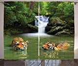 Ambesonne Safari Curtains, Siberian Tigers in Water Waterfall Pool Woodland Swimming Natural, Living Room Bedroom Window Drapes 2 Panel Set, 108' X 84', Green White