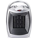 Ceramic Space Heater with Adjustable Thermostat, Portable Heater Electric Heater Fan with Overheat Protection and Carry Handle for Desk Office Home Bedroom, 1500 Watt