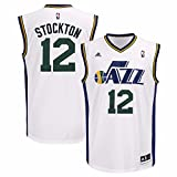 adidas John Stockton Utah Jazz NBA Men's White Replica Jersey (XL)