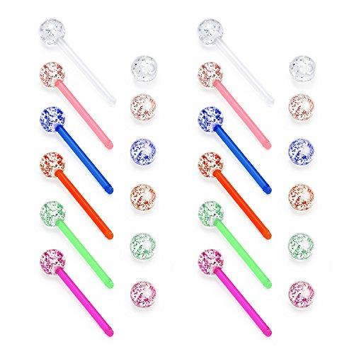 vcmart 14G 12Pcs Glitter Acrylic 18mmTongue Rings Flexible Nipple Barbell Body Piercing Jewelry deal 50% off 51KudcTu 2ByL